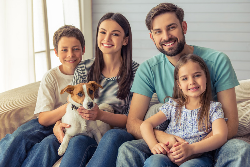 family with terrier